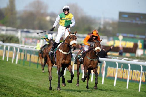 Oscar Time (right) finishing second in the Grand National