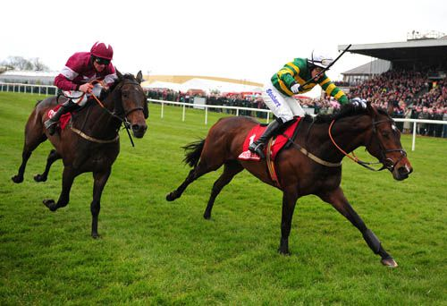 Alderwood pictured beating Trifolium at the Punchestown Festival last year