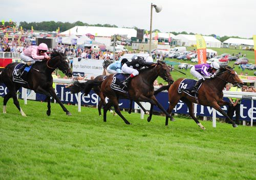 The Fugue seen here finishing third in the Oaks