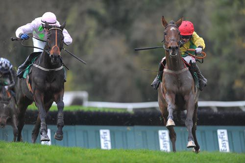 Sizing Jo'burg (right) comes away from the last in front of Sarabad in Downpatrick's opener
