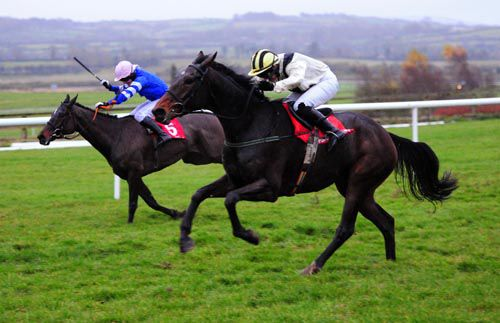 O Maonlai, near side, gets up to beat Redundant Man at Punchestown