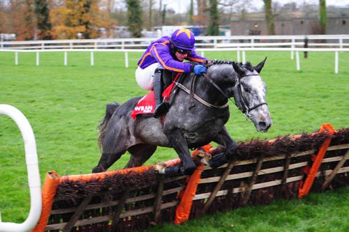 The grey Diakali jumps the last under Paul Townend