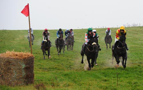 Runners making a splash at Lingstown with eventual winner Desertmore Stream on the left (white face & noseband)