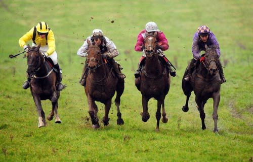 Bishopslough (right and in purple) keeps on best to score under Kevin Sheehan for trainer Tony Mullins