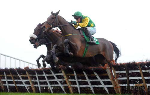 Busty Brown jumps the last under Paul Carberry