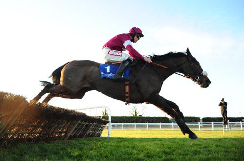 Bog Warrior clears the last at Fairyhouse on Saturday