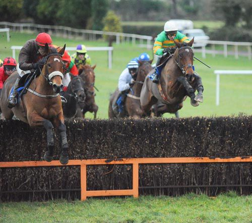 Another mighty leap from Fever Pitch (right) under David Casey at Clonmel