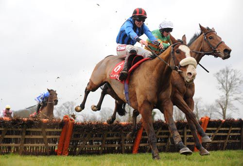 Treat Yourself (nearside) battles it out with Call Rog at Gowran