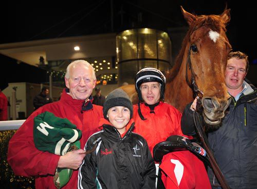 Willie Martin with Niall McCullagh and the jockey's son Stuart