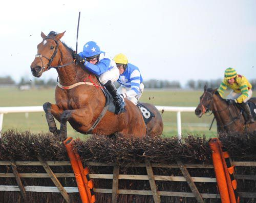 Missie Ella jumps the last well to see off Thats The Dream (no.8) and Brian Who