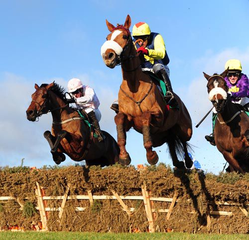 Flaxen Flare jumps the last in front from Ibsen (left) and Diplomat (right)