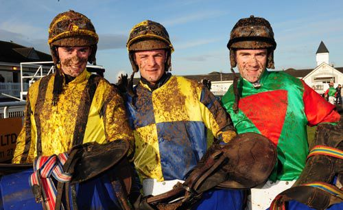 The first three jockeys home in the opener at Limerick, from left to right; Emmet Mullins, Mick Darcy & Brian O'Connell