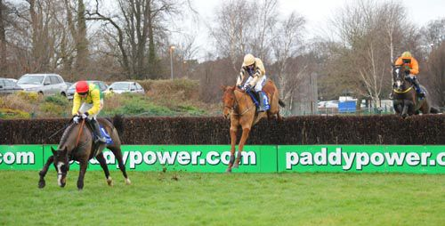 Back In Focus, middle, follows Aupcharlie over the last at Leopardstown
