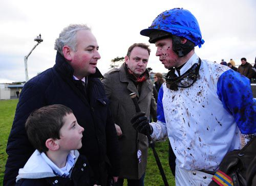Brian Gleeson talks to David Splaine after Ballyquin Queen's win