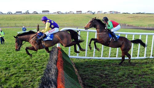 Milborough jumps the last in front of Akatara