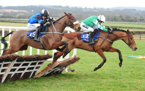 Eventual winner Jennies Jewel (nearside) battles it out with Upazo at Naas