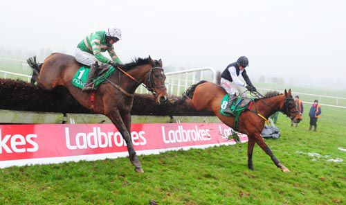 Alderwood (nearside) and Prima Vista battle it out over the last at Navan