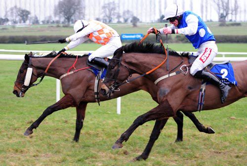 Blazing Sonnet and Jane Mangan hold off the Davy Russell-ridden Angelas Money