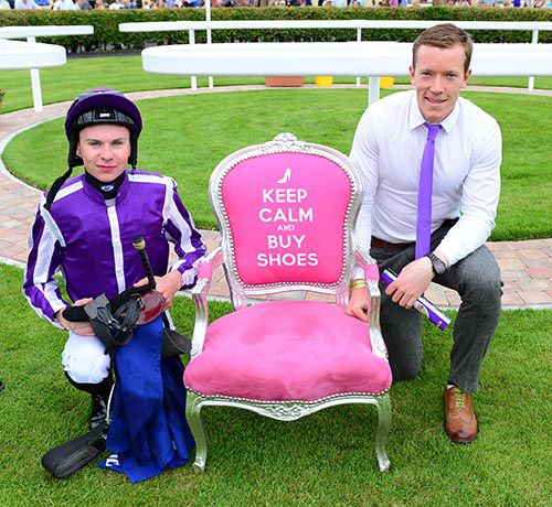 Mayo footballer and sponsor of the card at Ballinrobe, Donal Vaughan, with Joseph O'Brien