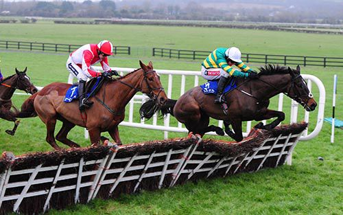Edwulf (Barry Geraghty) leads Haymount over the last in the maiden hurdle